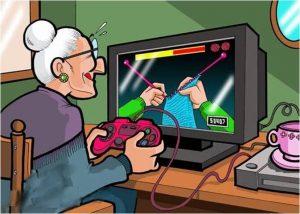 Chiste gráfico de la abuela jugando a la play